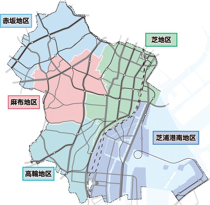 港区の5地区(港区市役所HPより)